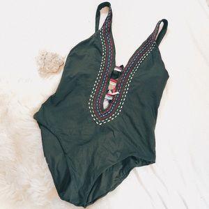 BECCA | Olive Green Rainbow Tassel Cutout Swimsuit